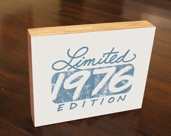 40th Birthday Limited 1976  Edition Gift Wood Block Art