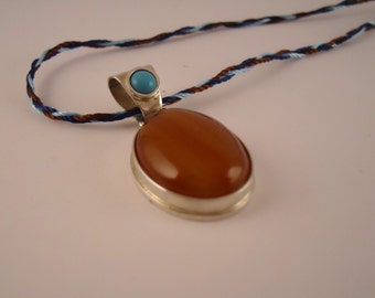 silver pendant - agate tourquoise,pendant,necklace,silver pendant,lady's pendant,girl's pendant,boho pendant,gift,turquoise pendant,