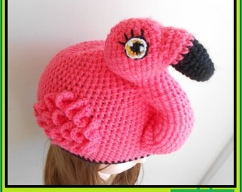 Flo The Flamingo Crochet Beanie, Flamingo Bird Hat, Men, Women, Girls, Boys, Kids, Child, Baby, Halloween Costume, Fancy Dress, Gift