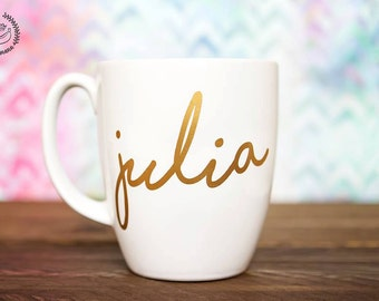 13 oz Custom *NAME ONLY* Mug - Personalized Coffee Mug - Coffee Mug -Gold VINYL lettering