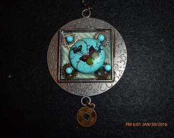 butterflies on blue stone Victorian necklace
