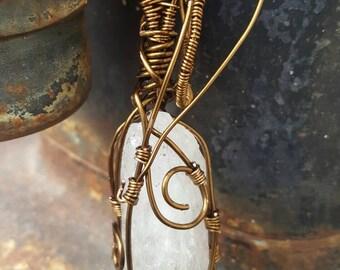 Quartz Crystal, Wire Wrapped Pendant