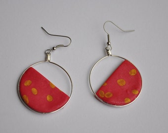 Polymer Clay Drop Earrings - Pink/Gold Skewed