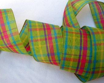 2.5 inchWired Ribbon ~ Easter Ribbon ~ Spring Ribbon ~ Plaid Ribbon ~ Ribbon for Wreaths ~  Easter Basket Ribbon ~ 5 Yards