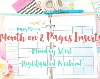Happy Planner Month on 2 Pages Calendar Planner Insert Printable Monthly PDF Instant Download