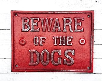 Beware of Dog Cast Iron Sign,Gate Decor,Plaque,Pet Gifts,Metal Sign,I Love My Dog,Wall Decor,Antique,Home and Garden,Funny Signs,Barn House