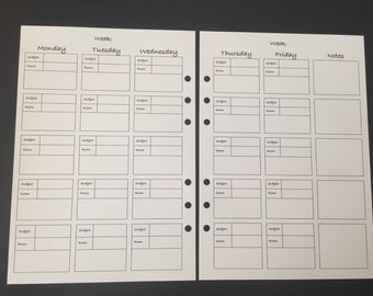 Printed Large A5 School Timetable Inserts - Double Sided