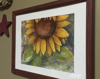 Folk Painting - Sunflower Original Watercolor
