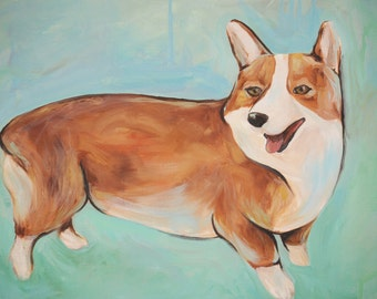 Original oil painting Corgi dog