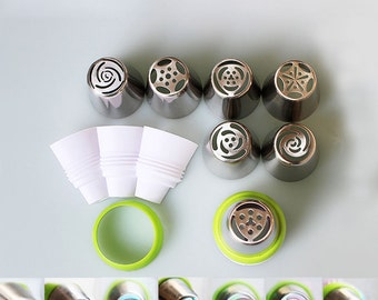 7pc XXL Tips & Coupler Set Flower Pastry Russian Design Pastry Icing Tips Cake Decoration Piping Tips Nozzles Tubes