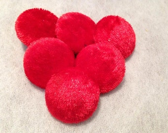 Red Buttons, Crushed, Velvet Buttons, Fabric Covered, Large, 25mm, Buttons, Shank, or, Loop Back, Handmade, Sewing Supplies, Upholstery