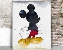 Mickey watercolor print, Mickey poster, Disney Art print, Mickey mouse art poster, Wall art, Kids and children decor, FamoustarsPrints.