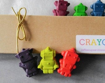 Robot crayons - easter basket - robot party favors - robot birthday - Gifts under 10 - Kids easter gift - robot party favors - crayons