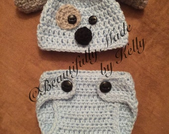 Crocheted Puppy Baby Beanie and Diaper Cover Set- Newborn
