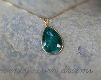 Emerald pendant necklace, rough emerald necklace, raw emerald necklace, emerald necklace