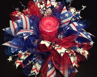 Patriotic 4th of July Deco Mesh Centerpiece/Candle Holder/Small Wreath
