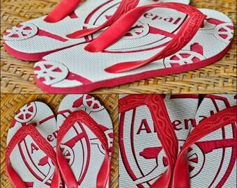 Arsenal FC Custom name Flip flops sandals carving