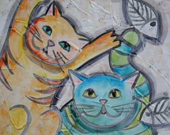 30 x 30 acrylic painting on canvas funny colorful cats