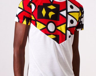 White V-Design T-Shirt with African Print - Samakaka Print from Angola