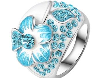 Blue Austrian Crystal Flower Enamel Ring