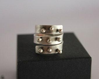 Modern Sterling silver adjustable ring