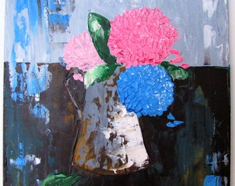 Hydrangeas in a Watering Can Palette Knife Painting
