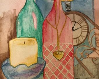 Watercolour wine print