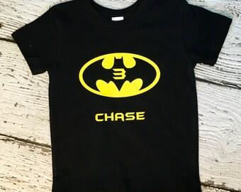 Batman Birthday Shirt, personalized Batman kids shirt, children's custom shirt, baby birthday shirt, batman logo, superhero birthday shirt