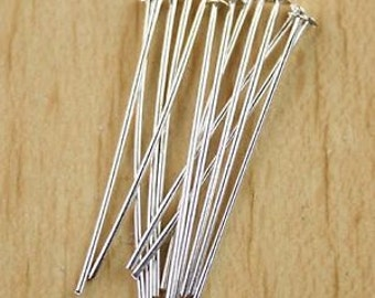 Head Pins, Silver Plated Heads, Silver Head Pins, 35mm Head Pins, Silver Findings, Quality Head Pins, Earrings Components,