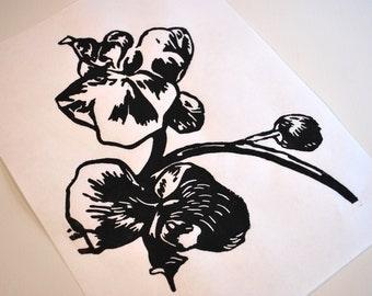 Handmade 'Orchid' Print 9x12 (Black)