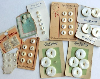 Vintage Mother of Pearl Buttons on Original Cards 52 Buttons
