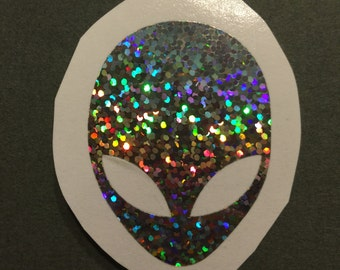 Alien Head  Holographic Bright Rainbow Sparkle Glitter Vinyl Decal  Yeti Decal  Ipad Decal  Window Decal   Vinyl Sticker Car Truck Decal