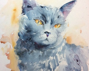"Original Watercolour ""Blue Cat"""