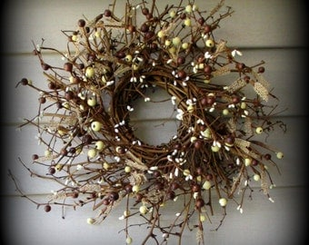 "18"" Burlap and Brown Mix Pip Berry Wreath  - New"