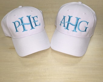 Childrens Monogrammed Baseball Cap. Youth/Toddler Hat with Monogram available in 9 colors. Personalized Toddler hat with initials or name.