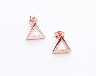 Rose Gold Triangle Earrings - Festival, boho style