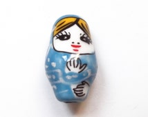 1 pc Handpainted blue matriochka ceramic bead 22 mm