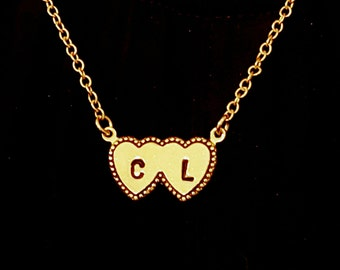 Double heart Initial Necklace