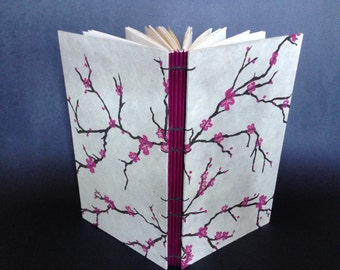 "Cream Plum Blossom Large Hardcover Button Book 5"" X 8.5"""