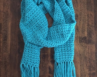 Crocheted Scarf, Aqua Blue