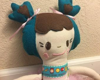 Teal Brown Bangs Japanese Fabric Handmade Doll with Tutu