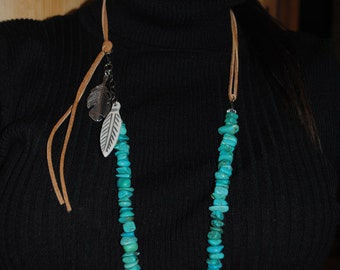 Turquoise and leather necklace with silver feather and buffalo bone feather