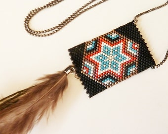 ethnic necklace woven beads and feather