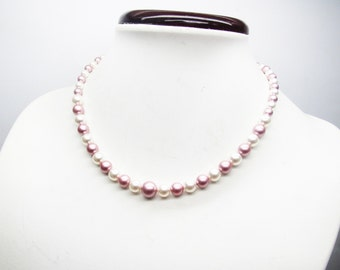 Wedding necklace, swarovski Pearl Necklace pearls pink and white necklace wedding or ceremony
