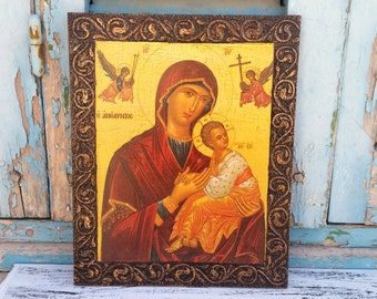 Saint St Mary Retirement Present,Antique Icon Mother of Jesus,Christian Icon Worship,Blessing Icon,Greek Orthodox Icon Art Home Decor