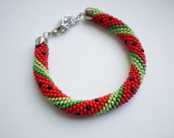 Beaded bracelet Watermelon Seed bead jewelry Beadwork Knitted bracelet Crochet bracelet Beaded watermelon Melon Red bracelet Gift for her