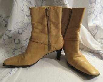 caramel real leather boots, Nine West, pant boots,side zipper, square toe, interesting heel, embellished, excellent condition, size 6.5