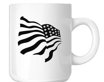 Patriotic Waving American USA Flag (SP-00002) 11 OZ Novelty Coffee Mug