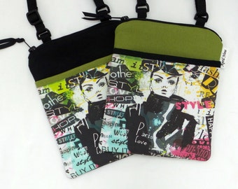 On Sale 14.00, was 27.00 Crossbody bag, iphone, E-reader, Fashion Art