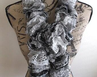 Elegant Black/White/Silver Ruffled Knit Scarf